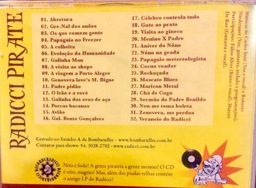 CD Radicci Pirate - Músicas e piadas do CD